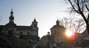 Morning sun over churches in Ivano-Frankivs'k
