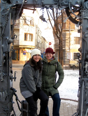Posing with Janira in an art-installation picture frame