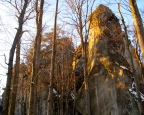 Dovbush Rocks in the late-afternoon sunlight