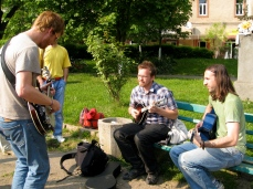 PCV's (Ryan, Chris, Craig) jammin' in a Beregovo park