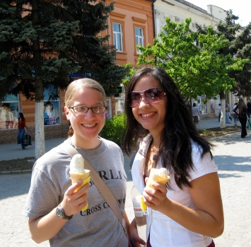 Janira and I enjoying our first ice cream cones since being in Ukraine!