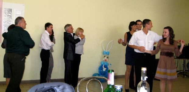 A silly dance that I was later persuaded to join -- it included various contests & was really fun & hilarious