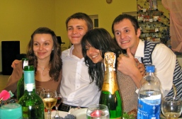 Halya, her cousin Misha & his girlfriend Anya, our neighbor Max (who by this point was pretty drunk)