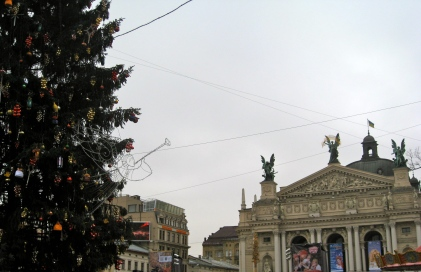 L'viv New Year tree & Opera House