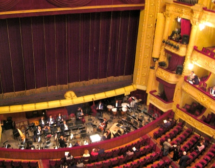 Inside Kyiv National Opera Theatre -- great view of the pit