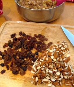 raisins for depth, almonds for crunch