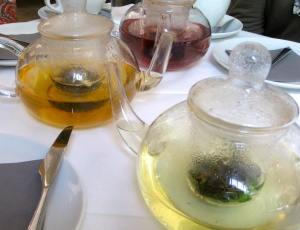 T had mint tea (foreground), D had jasmine (middle), C had wild berry (background). F and I shared the best Earl Grey tea I've ever had.