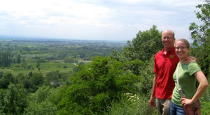 my dad and I, overlooking the Prut River valley in my PC post of Sniatyn, Ukraine (May 2012)