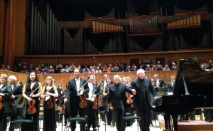 David Zinman and Emanuel Ax with the London Philharmonic Orchestra (photo credit: Sarah)