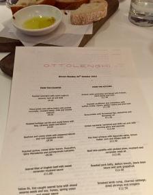 Ottolenghi menu