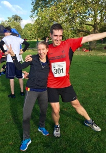 Post-race. The woman taking our photo encouraged us to strike an appropriately celebratory pose!