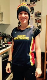 Ready to go in my Heathside colors (no, I didn't run in the bobble hat).
