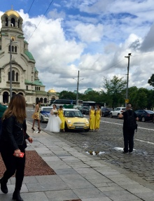 Wedding pictures in front of Alexander Nevsky Cathedral.