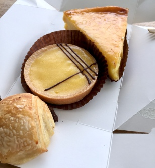 Pain au chocolate, tarte au citron, custard tart