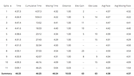 Not the evenest splits, but my HR was very steady, which shows my effort was even.