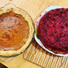 Pumpkin pie & cranberry cake: F made them this year.
